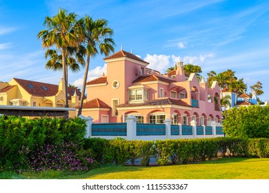 Beautiful luxury holiday villa house in Marbella town on Costa del Sol coast, Spain