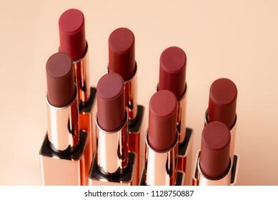 Beautiful Luxury Modern High End Close Up Deep Red Orange Bold Matte Lipstick