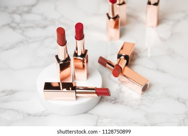 Beautiful Luxury Modern High End Red  Orange Bold Lipstick