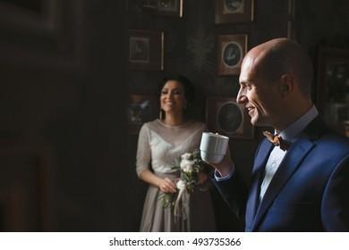 Beautiful luxury newlyweds in the restaurant