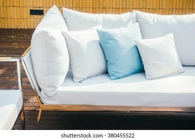 Beautiful luxury Pillow on sofa decoration in livingroom interior - Vintage Light Filter