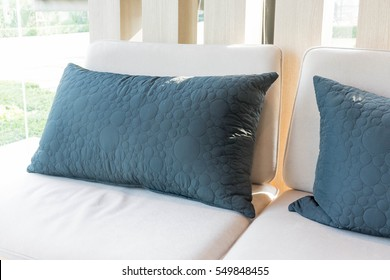 Beautiful luxury pillow on sofa decoration in livingroom interior for background