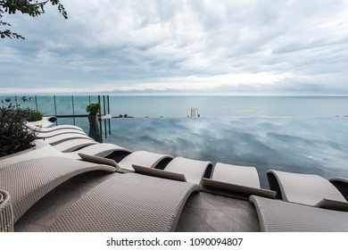 Beautiful luxury pool Chair swimming pool at Twilight times