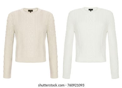 Beautiful luxury set, woolen autumn female knitted sweater, with long sleeves, beige and white, front view, clipping, isolated on white background