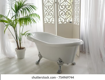Beautiful luxury vintage empty bathtub near big window in bathroom interio, free space. Freestanding white bath near folding screen and palm tree, copy space
