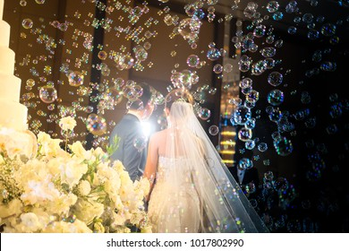 Beautiful and luxury wedding with different lights and bubbles