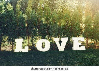 beautiful luxury white sign love with big letters on the background of sunny trees