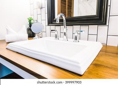 Beautiful luxury white sink decoration in bathroom interior - Vintage Light Filter