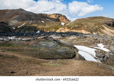Beautiful lwild landscape with colorful mountains in Landmannalaugar - Iceland