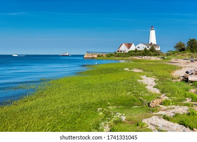 Beautiful Lynde Point Lighthouse, Old Saybrook, Connecticut, USA - Shutterstock ID 1741331045