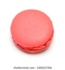 Beautiful macaroon pink isolated on white background. French confection