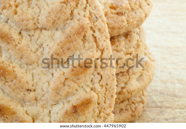 beautiful macro of natural and tasty cereals cookies
