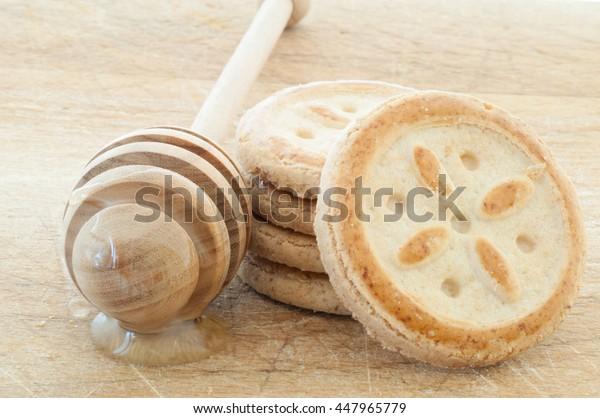 beautiful macro of natural and tasty honey cookies