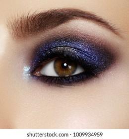 Beautiful macro shot of female eye with extreme long eyelashes and natural makeup. Perfect shape makeup and long lashes. Cosmetics and makeup. Closeup macro shot of fashion eyes visage