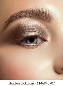 Beautiful macro shot of female eye with classic eyeliner makeup. Perfect shape of eyebrows, brown eyeshadows and long eyelashes. Cosmetics and make-up. Closeup macro shot of fashion liner eyes visage