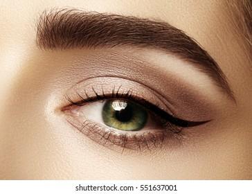 Belle macro photo d'oeil de femme avec maquillage classique d'un eyeliner. Forme parfaite de sourcils, de poils bruns et de cils longs. Cosmétiques et maquillage. Gros plan sur une macro photo de l'oeil d'un styliste