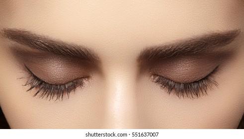 Beautiful macro shot of female eye with classic smoky makeup. Perfect shape of eyebrows, brown eyeshadows and long eyelashes. Cosmetics and make-up. Closeup macro shot of fashion smoky eyes visage