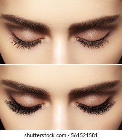 Beautiful macro shot of female eye with classic smoky makeup. Perfect shape of eyebrows, brown eyeshadows and long eyelashes.Closeup macro shot of fashion smoky eyes visage. Before and after