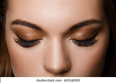 Beautiful macro shot of female eye with classic smoky makeup. Perfect shape of eyebrows, brown eyeshadows and long eyelashes.