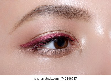 Beautiful macro shot of female eye with classic eyeliner makeup. Perfect shape of eyebrows, brown eyeshadows and long eyelashes. Cosmetics and make-up. Closeup macro shot of fashion liner eyes visage
