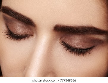 Beautiful macro shot of female eye with classic smoky makeup. Perfect shape of eyebrows, brown eyeshadows and long eyelashes. Cosmetics and make-up. Closeup macro shot of fashion smoky eyes visage