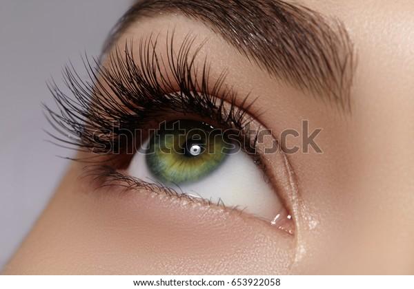 Schöne Makroaufnahme des weiblichen Auges mit extrem langen Wimpern und schwarzer Liner. Perfekte Form und lange Schnürsenkel. Kosmetik und Make-up. Makroaufnahme von Modeaugen in Nahaufnahme