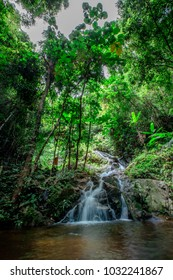 Beautiful Mae kam pong waterfall first state natural scenic background in changmai Thailland.