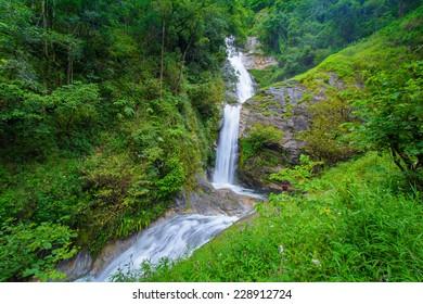 Beautiful Mae Pan Waterfall in Chiang Mai, Thailand