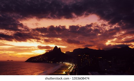 Beautiful magenta sunset in Ipanema and Leblon beaches in Rio de Janeiro, Brazil - Unesco World Heritage