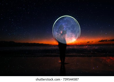 beautiful magic landscape with woman and stars and moon