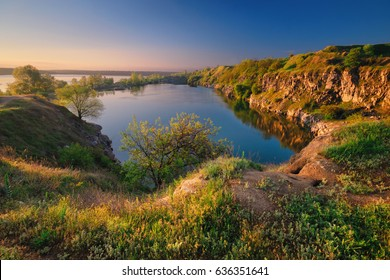 A beautiful magical lake on a summer morning at dawn. Dnepropetrovsk Ukraine
