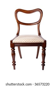 A beautiful mahogany balloon back dining chair isolated on white