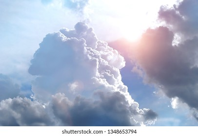 beautiful majestic big clouds in sky. Beautiful sky with clouds, air nature. Storm cloud. way to heaven, to Paradise. abstract blurred background, soft focus