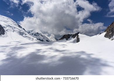 The beautiful majestic scenery of the Mont Blanc massif in June. Alps.