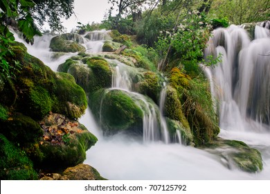 Beautiful majestic waterfalls at Plitvice National Park, Croatia. UNESCO heritage.