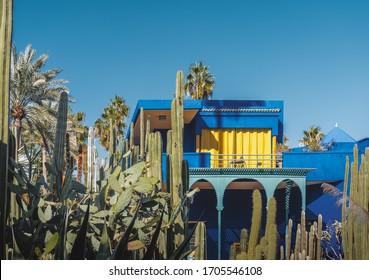 The beautiful Majorelle Garden is a botanical ,tropical garden and artist's landscape garden in Marrakech, Morocco. Le Jardin has a water fountain painted in Majorelle Blue.