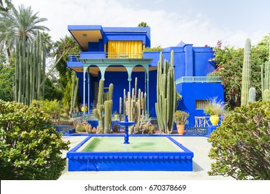 The beautiful Majorelle Garden is a botanical ,tropical garden and artist's landscape garden in Marrakech, Morocco. Le Jardin has a water fountain painted in Majorelle Blue.