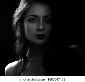 Beautiful makeup calm woman with long hair looking sexy with half shadow on the face. Closeup portrait. Art.Expression portrait. Vogue. Black and white