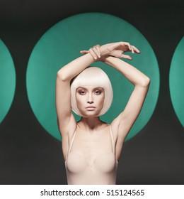 Beautiful makeup. Sexy woman with art makeup.  Female fashionable makeup. Beautiful nude blonde with sexy evening makeup.