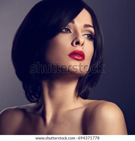 beautiful makeup woman perfect face short stockfoto nu