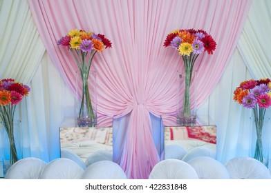a beautiful malay tradition wedding seat for bride and groom. malay wedding