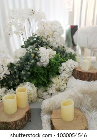 Beautiful malay wedding dais decoration in white and nature theme