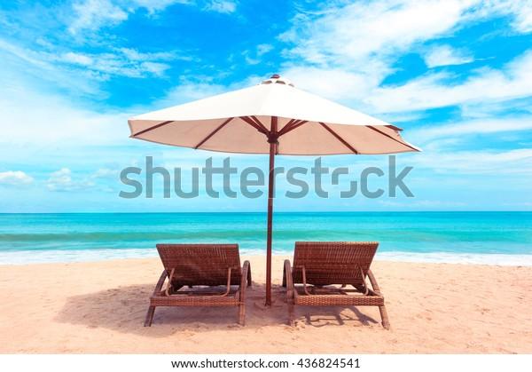 Terrific Beautiful Maldive Beach Beach Chairs On Stock Image Machost Co Dining Chair Design Ideas Machostcouk