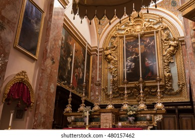 Beautiful Maltese Baroque interior of Church of the Annunciation of Our Lady, a Carmelite Church, Cathedral Chapter, Mdina, Malta, September 2016