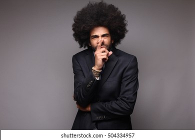 beautiful man with afro, doing business