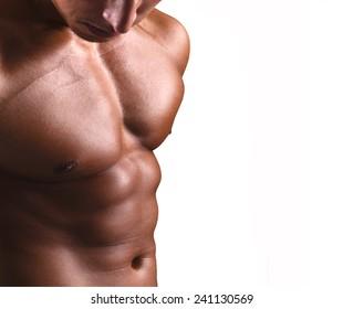Beautiful man torso on white background