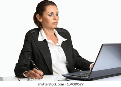 Beautiful manager woman working with laptop . Business conceptual