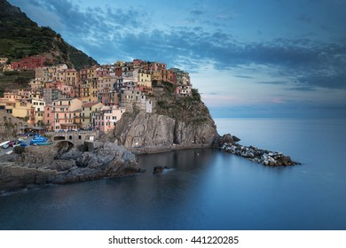 Beautiful Manarola in Cinque Terre, Italy after sunset.