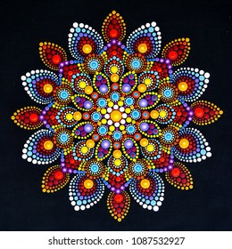 Beautiful mandala hand painted by dots