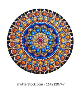 beautiful mandala hand painted isolated on white background